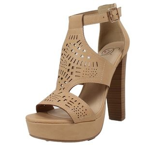 Shoes - WELBY Natural Open Toe Cutout Platform Chunky Heel